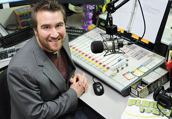 photo of an MSUB student interning with a radio station