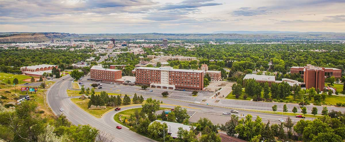 panoramic photo of the MSUB university campus taken from the Rims