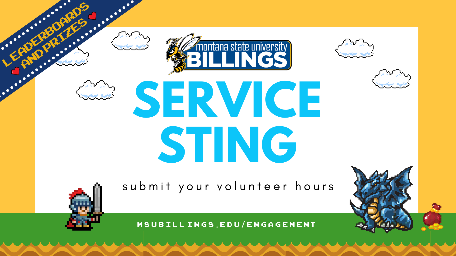 Service Sting. Submit your volunteer hours. Leaderboard and prizes