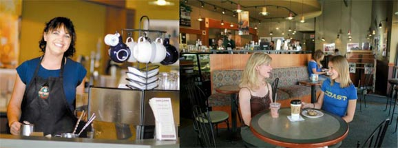 photo collage of a coffee shop close to the MSUB campus