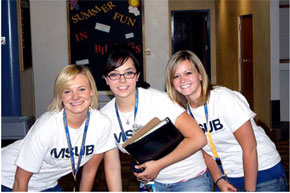 three MSUB students at the residence halls