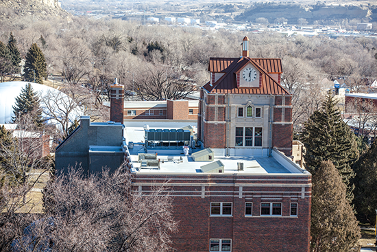 McMullen Hall tower in winter