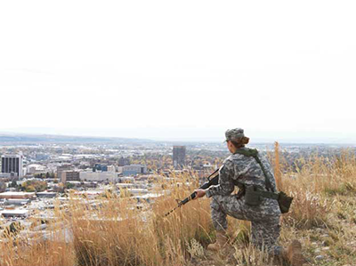 a cadet on a training on top of the Rims above Billings
